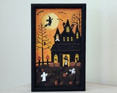 Folk Art Halloween Painting  - READY TO SHIP - Spooky House, Witch, Full Moon, Ghosts, Headstones, Spider Webs, Pumpkins, Owl, Bats, Cat