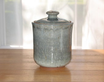 Lidded jar in blues