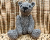 "8"" Handmade Teddy Bear Hand Knitted Teddy Bear in Old Fashioned Brown Vintage Style Bear Knitted Brown Teddy Bear in 100% Arran  Wool"