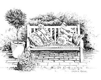 """Limited Edition Print of my Pen and Ink drawing of a  """"Country Bench with Pillows"""""""