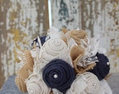 Custom order for Dana - denim and navy burlap and lace wedding bouquets and boutonnieres