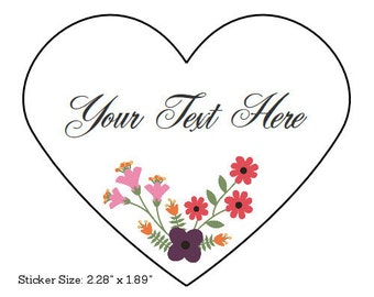 Custom Stickers, Heart Stickers, Custom Labels Set of 15