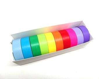 Washi Tape Set, Multicolor Washi Tape, Rainbow Color Washi Tape - Set A