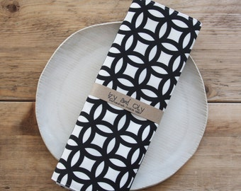 Fabric Placemats - Black and White - Set of 4