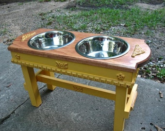 Marigold and Autumn Glow Distressed Two Bowl Elevated Dog Bowl Pet Feeder For Large Dogs- Made To Order