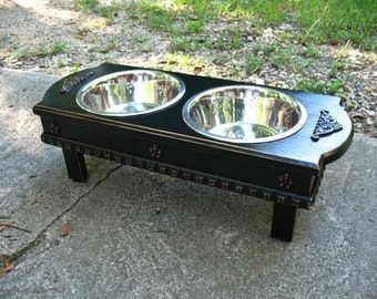 Black Distressed, Elevated Dog Bowl, Medium Size, Shabby Chic Pet Feeder, 2 Two Quart Stainless Bowls, Feeding Station,  Made to Order