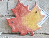 Red with Yellow Maple Leaf Autumn Salt Dough Ornament / Fall Leaves Decor