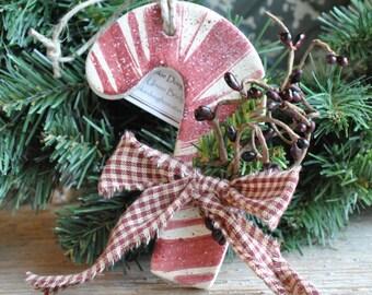 Candy Cane Salt Dough Xmas Tree Ornament