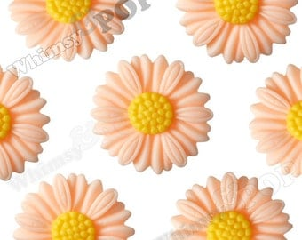 27mm - Large Matte Shabby Chic Peach Daisy Sunflower Resin Cabochons, Daisy Cabochons, Flower Cabochons, Sunflower Cabochons (R6-039)