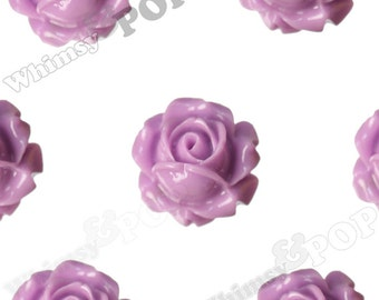 Vintage Deco Lilac Rose Bud Resin Cabochons, Flower Cabochons Flatback Cabochons, 15mm x 8mm (R1-096)