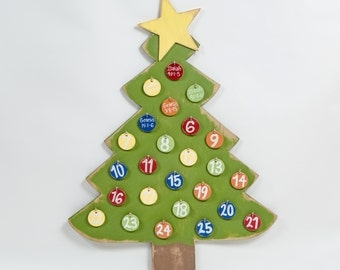 "Advent Calendar Wooden Christmas Tree with Gold Star Distressed 36""H"