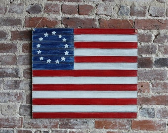 "24"" Wooden Colonial Flag - US Flag - Patriotic Flag - Distressed, 13 stars and stripes"