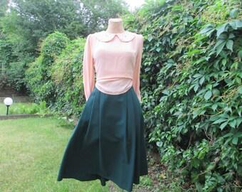 Full Skirt Vintage / Wool / Poly / Size EUR 46 / 48 / UK18 / 20 / Side Pockets