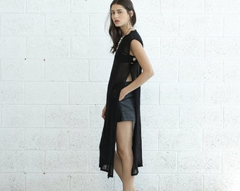 Summer SALE Knit Dress, Side Slits dress, Black.