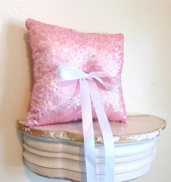 Pink Sequin Ring Bearer Pillow, Pink Ring Bearer Pillow, Flower Girl, Pink Wedding, Pink Wedding, Pink Wedding Decor, Sequin ROSE QUARTZ