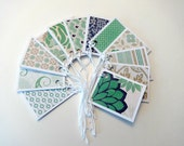 Gift Tags, Gift Tag Set, Assorted Gift Tags, Paper Tags, Folded Gift Tags, Blank Gift Tags, Set of 12 Folded Gift Tags, Mint Green Gift Tags