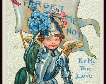 Valentine's Day Card. Antique Cupid Postcard. The Knight of the Forget Me Not. Flowers, Knight in Shining Armor.  Embossed 1910s Collectible