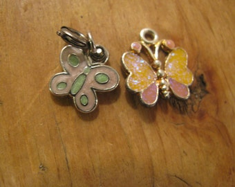 2 sparkly butterly   pendants / charms