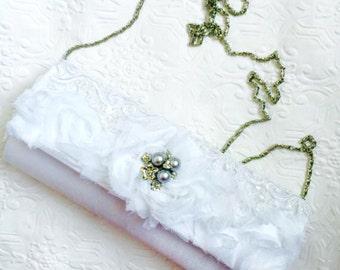 Wedding Clutch, Shabby Chic Clutch, Prom Clutch, Wedding Bag, White Clutch