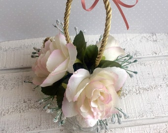 Beautiful Glass Heart Ornament, Shabby Chic Heart with Roses, Altered Glass Heart, Glass Heart Wall Hanging