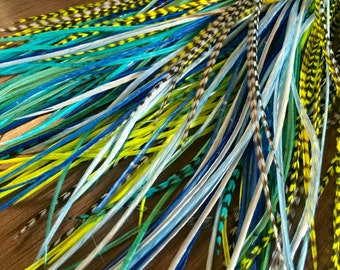 Blue/Green Feather Extensions Long Hair Feather Extensions Shades Of Blue And Lime Green Hair Accessories 8pcs Loose or Bonded
