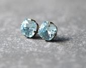 25% OFF SUMMER SALE Icy Light Aquamarine Earrings Swarovski Crystal Icy Light Aquamarine Stud Earrings Rounded Square Mashugana