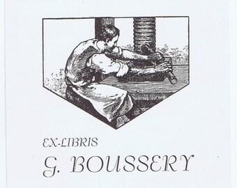 Antique Vintage Printer Printing Press Boussery Ex Libris Bookplate Library Paper Ephemera Graphic Design