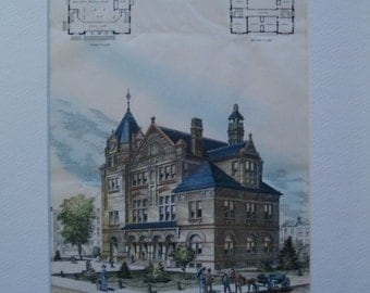 US Court House, Post Office, Carson City, Nevada, 1886, ME Bell, Architects. Hand Colored, Original Plan, Architecture, Vintage, Antique