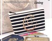 Monogrammed Small Bag Black Creme Stripe Gold Glitter Built-In RFID Blocking Lining Travel Bag Bridesmaid Maid of Honor Graduation Gift