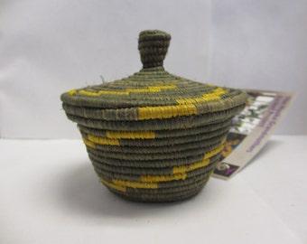 Small Green and Yellow Basket. African Basket, Basket with Lid, Unique Basket, Woven Basket, Decorative Basket, Storage Basket, Useful Gift