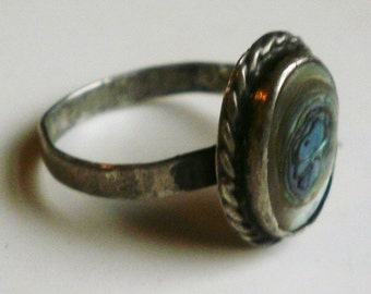 Sterling Silver Abalone Ring-Size 5 7/8