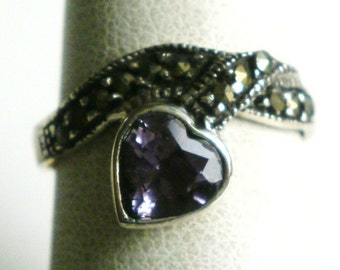 Sterling Silver Amethyst Heart Ring-Size 7