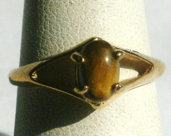 Gold Plated Tiger's Eye Ring-Size 6