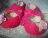 Hand Crafted Baby Shoes, Mary Janes, Felt Baby Shoes