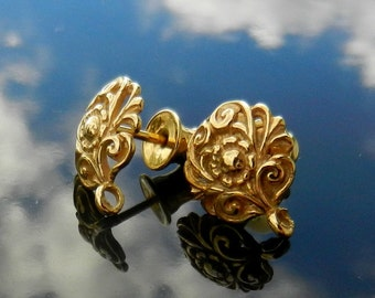 Gold Vermeil over Sterling Silver  Ear Posts with Ear nuts earrings