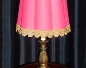 RESERVED - Bronze color Table Lamp with Hot Pink Fabric Lamp Shade Fuchsia Gold Trim