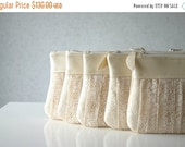 ON SALE Bridesmaid lace clutch bags, Romantic Ruched bridesmaids bags, Set of 5, Pleated lace, Pearl leather, Choose your colour