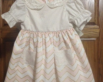 Gold Dots and Pink/Gold Chevron Dress by babyozclothing
