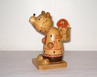 "Vintage ""MASHA and the BEAR"" Figurine / Hand Carved Russian Folk Art / Rare Folk Tale Wood Carving"