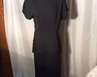 Destinee women 14-- 60s black peplum dress...CHECK MEASUREMENTS--maybe a 10 or 12!