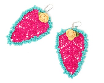 Earrings-Bohemian Leaf Rose Crystals Crochet Beaded Pink Turquoise Yellow Oversized Statement Earrings, Bohemian Fiber Textile Jewelry