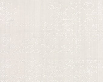Modern Background Paper Handwriting White on Fog, Brigitte Heitland, Zen Chic, Moda Fabrics, 100% Cotton Fabric, 1580 22