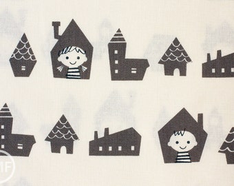 Happy Houses in Grey, Putidepome So Happy, Mico Design Works, Made in Japan, Cotton and Linen Blend Fabric, PTMF-077