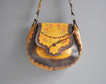 Vintage Tooled Leather Floral Purse