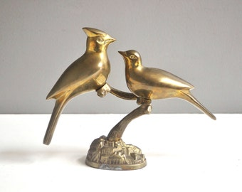 Vintage Solid Brass Cardinals Paperweight or Figurine