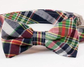 Preppy Montauk Madras Bow Tie Dog Collar