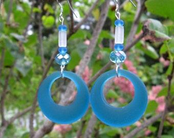 Blue Sea Glass Earrings: Blue Hoop Earrings