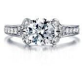 Round Forever One Moissanite Engagement Ring and Diamonds 950 Platinum Diamond Ring