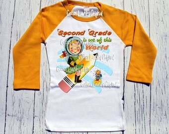"""Back to School """"Second Grade is out of this world"""" or any grade raglan style grapic tee school girls tee shirt SPACE pencil"""