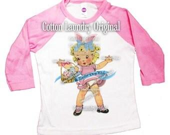 Easter Shirt Bunny Pink Raglan Shirt Spring Girl Easter Tee shirt Baseball style raglan tee shirt childrens